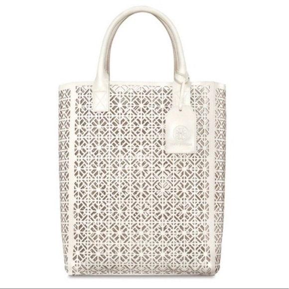 TORY BURCH White Perforated Tote